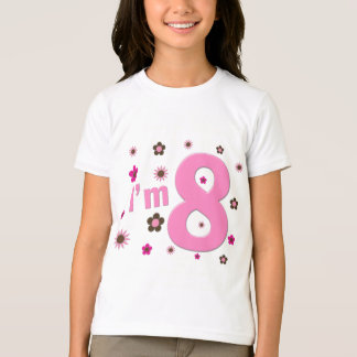 I'm 8 Pink And Brown Flowers Shirt