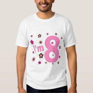 I'm 8 Pink And Brown Flowers Tee Shirts