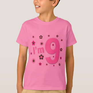I'm 9 Pink And Brown Flowers Tshirts