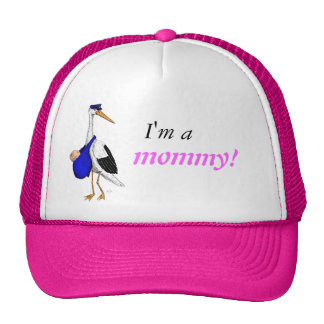 """""""I'm a mommy!"""" hat with the Delivery Stork"""