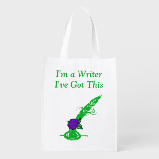 Im A Writer Dk Purple Rose Green Ink Quill Grocery