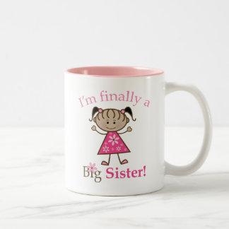 I'm Finally a Big Sister Ethnic Stick Figure Girl Two-Tone Mug