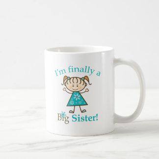 I'm Finally a Big Sister Stick Figure Girl Basic White Mug