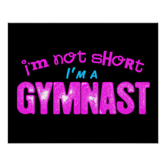 I'm Not Short, I'm a Gymnast Pink and Blue Poster