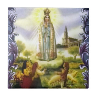 image of the apparition Our Lady of Fatima Small Square Tile