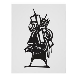 Immigrant With luggage Poster