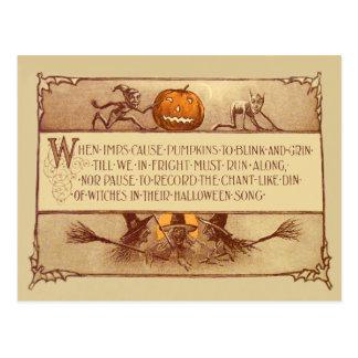 Imp Jack O' Lantern Witch Moon Bat Postcard