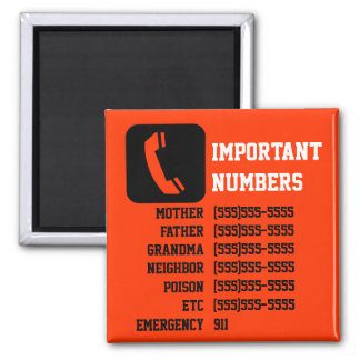 Important contact info for kids, babysitter etc square magnet
