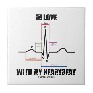 In Love With My Heartbeat (Electrocardiogram) Small Square Tile