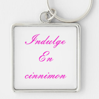 Indulge En cinnimon Silver-Colored Square Key Ring