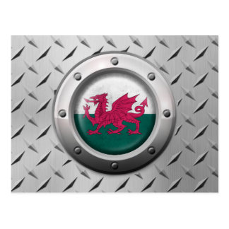 Industrial Welsh Flag with Steel Graphic Postcard
