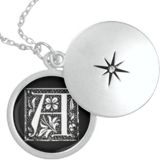 Initial A Medium Silver Plated Round Locket
