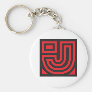 Initial for names starting with J Basic Round Button Key Ring