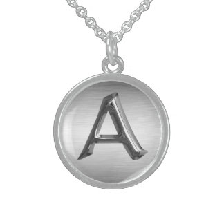 """Initial Letter """"A"""" Sterling Silver Necklace"""