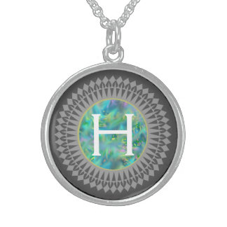 Initial on Blue Opal with Silver Grey Necklace
