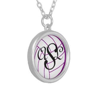 Initials Monogram Volleyball Necklace