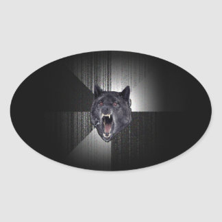 Insanity Wolf Meme Funny Memes Black Wolf Oval Sticker