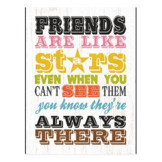 Inspirational Arts - Friends Are Like Stars. Postcard