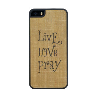 Inspirational Words: Live Love Pray Wood iPhone SE/5/5s Case