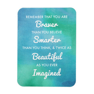 Inspirational Words on Blue Watercolor Background Rectangular Photo Magnet