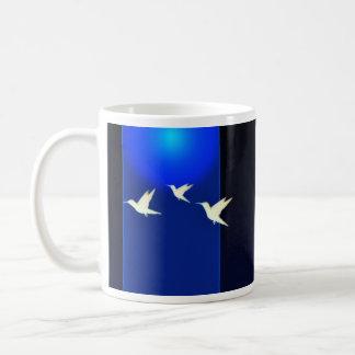 Inspiring white birds and pink blossom gift basic white mug
