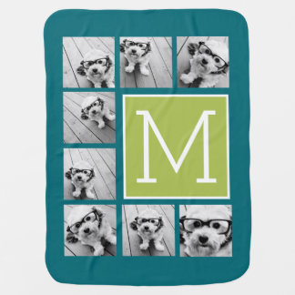 Instagram Photo Collage Monogram - Blue and Lime Swaddle Blankets