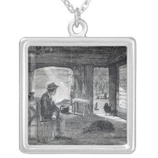 Interior of a settler's hut in Australia Square Pendant Necklace