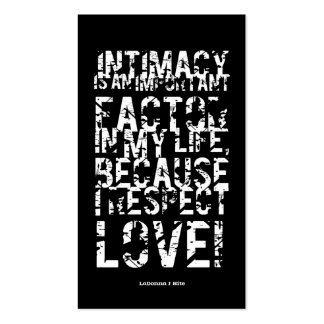INTIMACY IS... BOOKMARK 1 (Business Cards Size) Pack Of Standard Business Cards