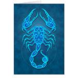 Intricate Blue Tribal Scorpio Greeting Card