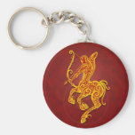Intricate Golden Red Tribal Sagittarius Basic Round Button Key Ring