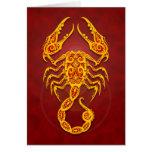 Intricate Golden Red Tribal Scorpio Greeting Card