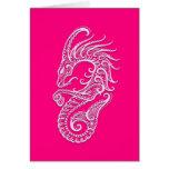 Intricate Pink Capricorn Zodiac Greeting Card