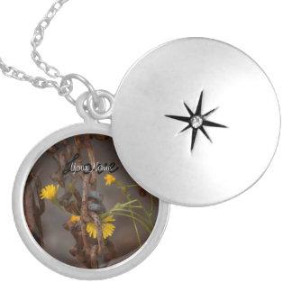 Invasive Flower; Customizable Greetings Round Locket Necklace
