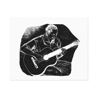 invert acoustic guitar pencil player sketch stretched canvas prints