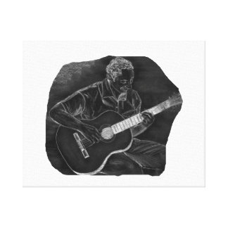 invert acoustic guitar player sit grey stretched canvas prints