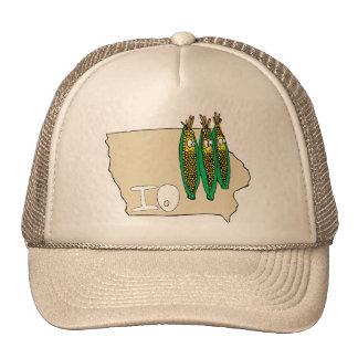 Iowa IO Map & Corn Husker Cartoon US Motto Cap