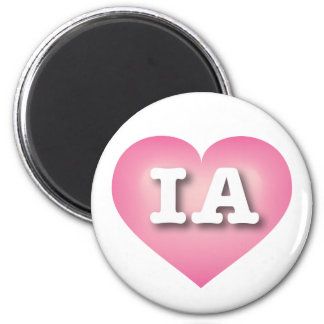 Iowa Pink Fade Heart - Big Love 6 Cm Round Magnet