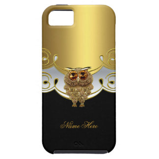 iPhone 5 Gold Black White Owl Jewel Image Case For The iPhone 5