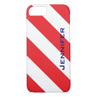 iPhone 7 Case, Red & White Stripe, Personalized iPhone 7 Case