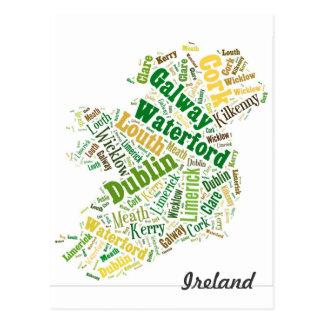 Ireland Cities Word Art Postcard