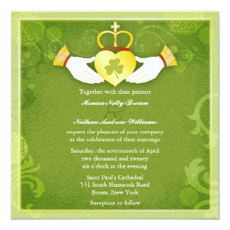 Irish Claddagh Heart Green Celtic Wedding 13 Cm X 13 Cm Square Invitation Card
