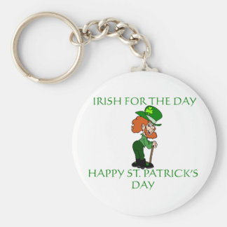 Irish for the Day with Leprechaun Graphic Basic Round Button Key Ring