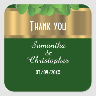 Irish green and gold thank you square sticker