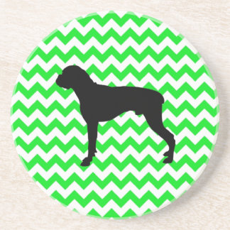 Irish Green Chevron with Boxer Silhouette Drink Coasters