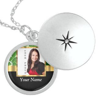 Irish shamrock personalized instagram round locket necklace