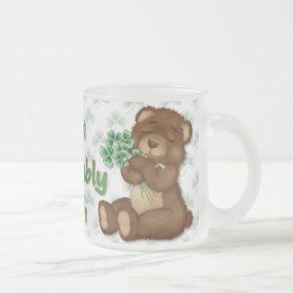 Irish Shamrock Teddy Frosted Glass Mug