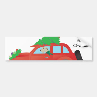 Irish Wolfhound Dog Driving a Christmas Car Bumper Sticker