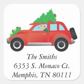 Irish Wolfhound Dog Driving a Christmas Car Square Sticker