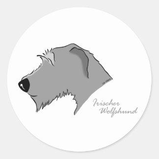 Irish Wolfhound head silhouette Round Sticker