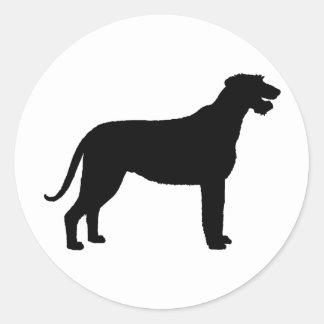 Irish Wolfhound (in black) Round Sticker